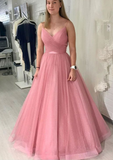 Pink v neck tulle long prom dress, evening dress cg5237