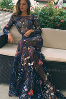Sheath Bateau Long Sleeves Navy Prom Dress with Embroidery cg5239