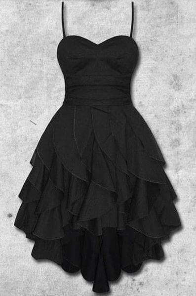 Black chiffon sweetheart A-line short homecoming dresses,strapless casual dresses cg5241
