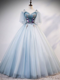 Blue tulle lace long prom dress, evening dress cg5243