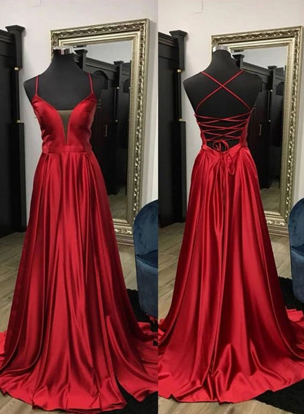 Simple burgundy satin long prom dress, evening dress cg5245