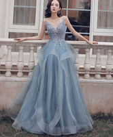 blue v neck tulle lace long prom dress, blue evening dress cg5246