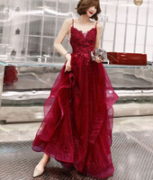 burgundy lace long A line prom dress, lace evening dress cg5247