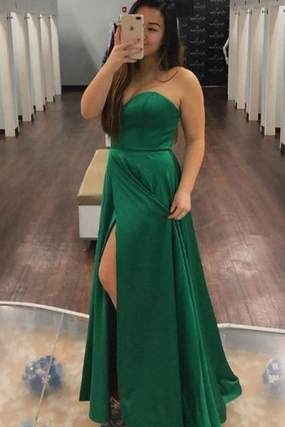 simple sweetheart green long evening prom dress with slit cg5249
