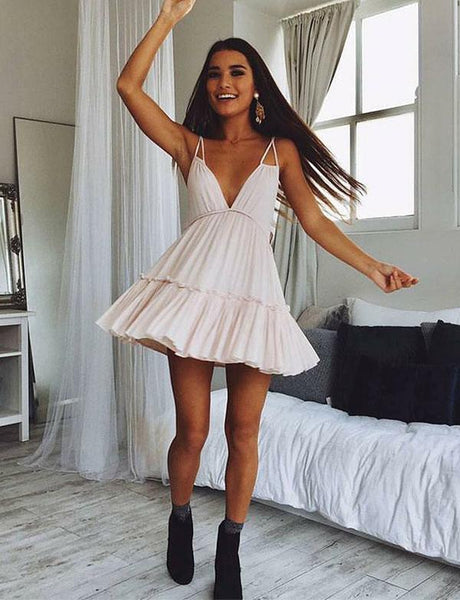 Deep V Neck Pink Chiffon Short Homecoming Dresses With Ruffles cg524