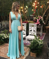 Sexy Baby Blue Prom Dress, V-neck Long Prom Dresses,Prom Dress, Chiffon Long Evening Dress Formal Dress cg5254