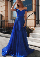 Off the Shoulder Royal Blue Beaded Long Prom dress cg5258