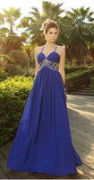 Scoop Cap Sleeve Backless Sweep Train Chiffon With Crystal Beading Formal prom Dresses Party Gown cg5259