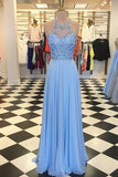 gorgeous prom dress, blue chiffon prom dress, long prom dress cg5260