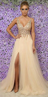 Custom Made Tulle Beadings Evening Party Dress Fashion Long Side Slit School Dance Dress cg5263