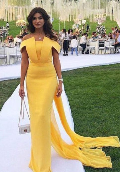 Fashion Yellow Mermaid Evening Dresses New Off shoulder prom gown cg5270