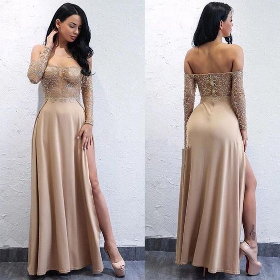 Sexy Long Sleeves Prom Dresses Illusion Bodice party dress cg5277