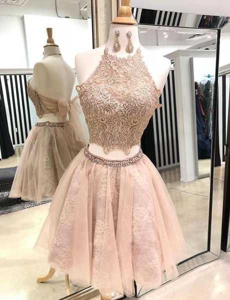 Two Pieces Halter Champagne Short Homecoming Dresses With Appliques  cg527