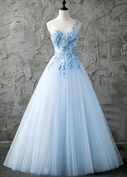 Blue One-Shoulder Prom Dresses,A-Line Beading dress cg5283