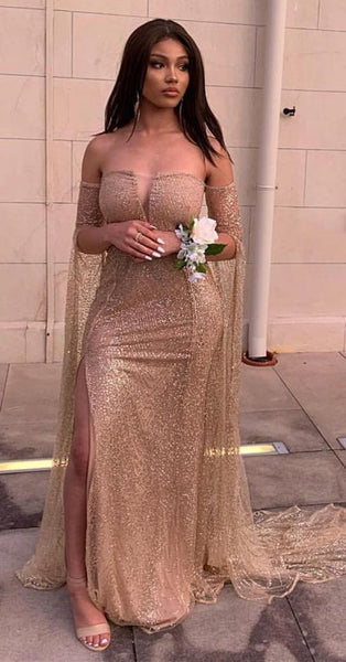 Off The Shoulder Long Sleeves Champagne Prom dress cg5285
