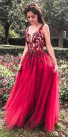 Fashion V neck Tulle A-line Red Long Prom Dress Beading Evening Party Gown cg5286
