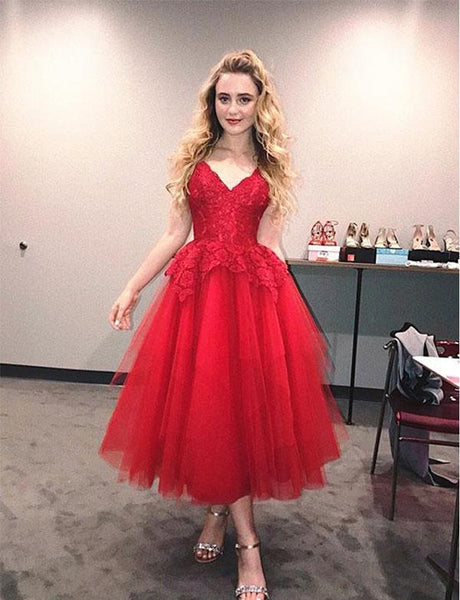 V Neck Red Tulle Tea Length Homecoming Dresses cg528