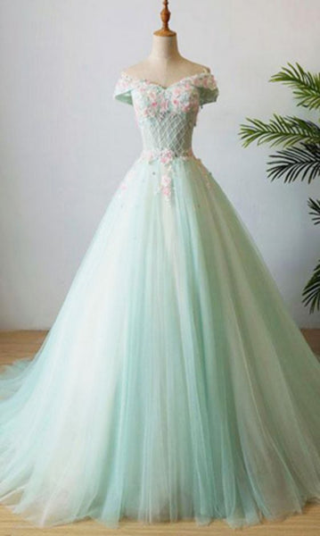 Green V Neck Tulle Beads Long Prom Dress, Tulle Evening Dress cg5292