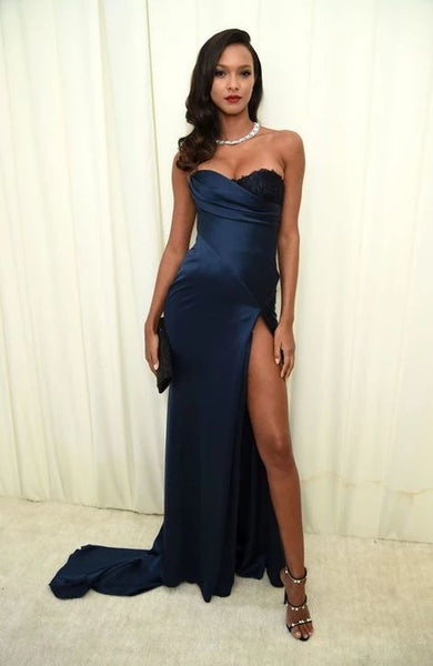 Navy Blue Long Mermaid Side Slit Sexy Prom Dresses  cg5293