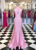 Off Shoulder Pink Satin Mermaid Prom Dress cg5296