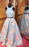 Blue Floral Print Beaded A Line Applique Two Piece Long Prom Dress cg5298
