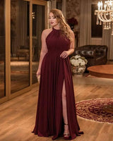 Sexy Bridesmaid prom Dresses Long Chiffon Halter Split Gowns cg5307
