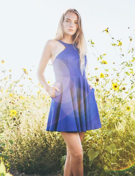 Cute A Line Halter Royal Blue Short Mini Homecoming Dresses cg530