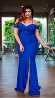 Royal Blue Plus Size prom Evening Dress cg5310