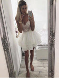 Spaghetti Straps White Chiffon Short Homecoming Dresses With Embroidery cg531