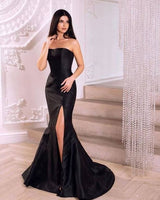 Simple Strapless Mermaid Black Long Evening Dress with Side Slit cg5323