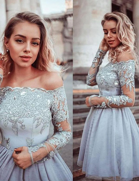 Off The Shoulder Gray Tulle Short Homecoming Dresses With Appliques cg532