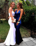 Royal Blue V Neck Backless Satin Mermaid Prom Dresses Criss Cross Back Evening Party Dress cg5331