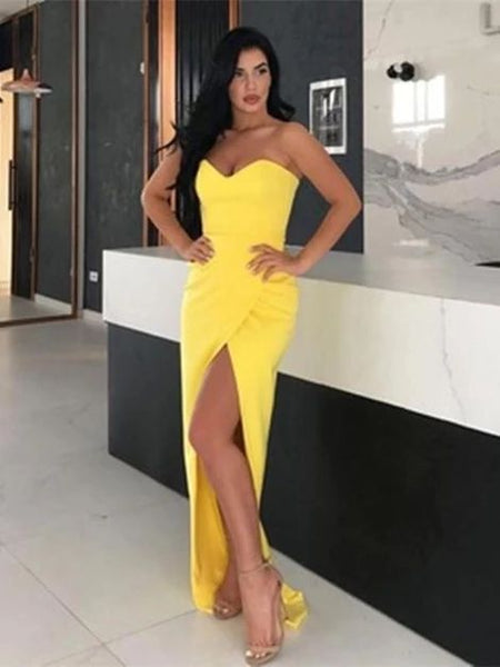 Simple Yellow Sweetheart Neck Satin Long Prom Dresses with Slit, cg5338