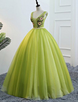 Fresh Green Tulle V Neck Long Lace Up Senior Prom Dress With Applique cg5340