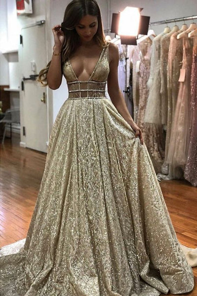 Sexy Deep V Neck Champagne Party prom  Dress cg5342