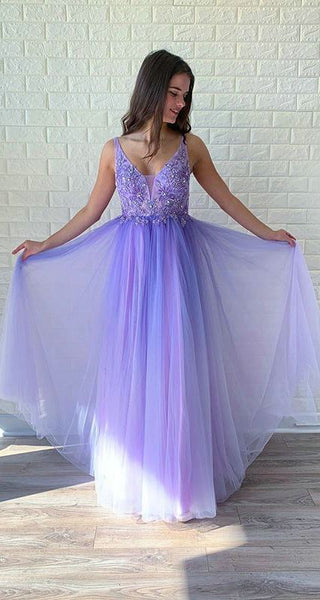 Light Purple Tulle Prom Dresses with V-Neck Beaded Bodice Long Prom Gowns  cg5344