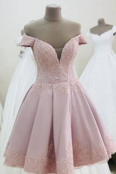 short pink homecoming dress with off the shoulder cg5345