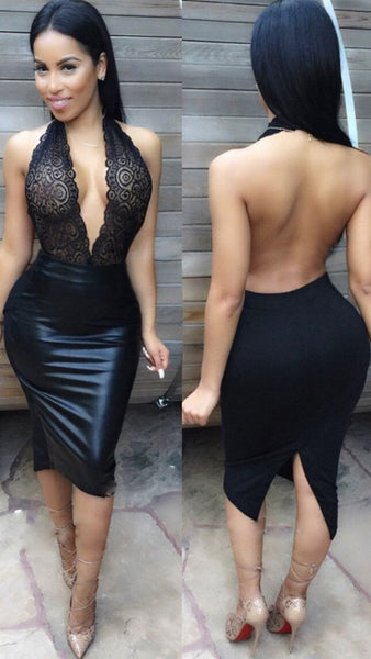 Deep V-neck Bodycon Embroidery Backless Short homecoming Dress cg5349