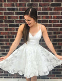 A Line Spaghetti Straps White Tulle Short Homecoming Dresses  cg534