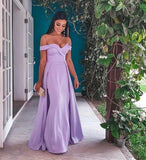 Off-shoulder Sweetheart Prom Dress Long with Side Slit cg5352