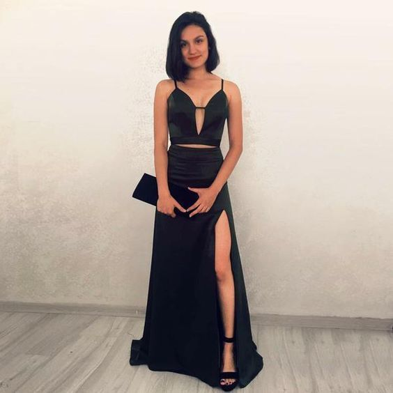 Black Two Piece Prom Dresses for Women cg5355
