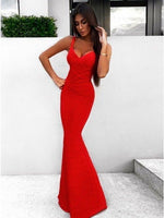 Mermaid Sleeveless Sweep Train Red Stretch Satin Prom Dress Fashion Dress Cheap Prom Gown cg5362