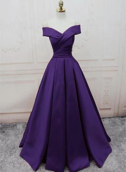 Dark Purple Off Shoulder Satin Long Formal Gown, Prom Dresses cg5364