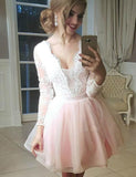 A-Line V-Neck Long Sleeves Pink Tulle Homecoming Cocktail Dress With Appliques  cg536