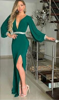 Green V-neck Sexy Evening Dress With Slit Prom dress cg5372