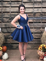 A-Line V-Neck Short Navy Blue Satin Homecoming Cocktail Dress With Beading  cg537