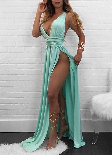 Sexy Deep V Neck Split Side Prom Dresses cg5380