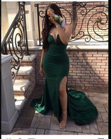 2020 Sexy Dark Green Sweetheart Split Mermaid Prom Dresses cg5388