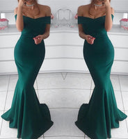Hunter green prom dress,mermaid prom dress,off the shoulder evening gowns cg5393