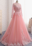 Charming Long Sleeve Appliques Pink Tulle Prom Dresses, Elegant Evening Formal Dress  cg5407